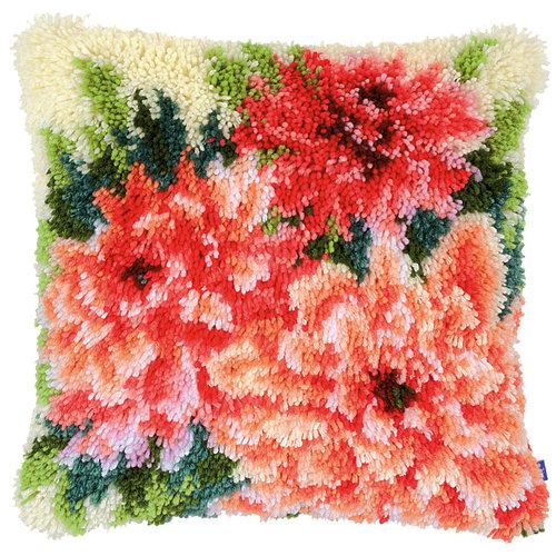 Vervaco Vervaco smyrna knoopkussen roze dahlia's 0155262