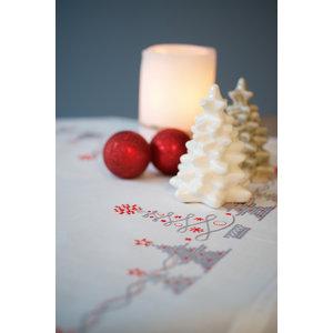Vervaco Vervaco borduurpakket tafelkleed kerstbomen 0166603
