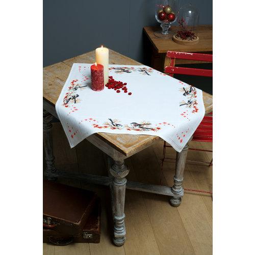 Vervaco Vervaco tafelkleed staartmeesjes en rode bessen 0164896