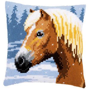 Vervaco Vervaco borduurkussen Paard in de sneeuw 0157077