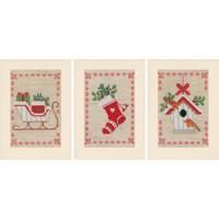 Vervaco Borduurkaarten Kerstmotiefjes 3 stuks 0178342