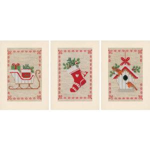 Vervaco Vervaco Borduurkaarten Kerstmotiefjes 3 stuks 0178342