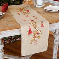 Vervaco tafelloper kerst springende herten 0150838