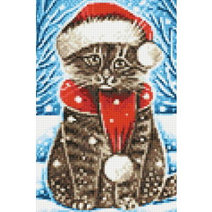 Wizardi Diamond Painting Christmas Cat WD2436