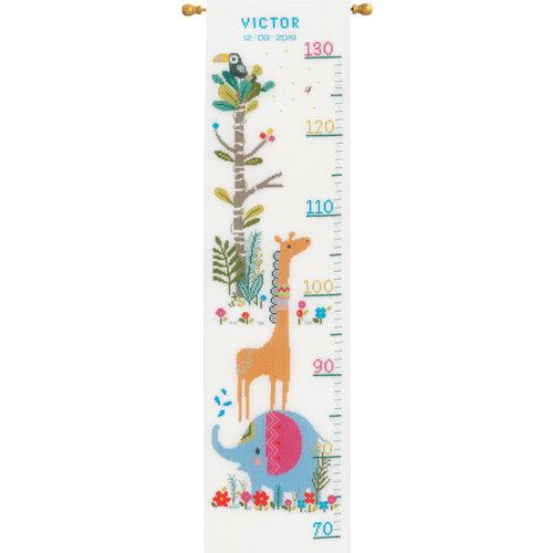 Vervaco Vervaco Groeimeter Borduurpakket Junglediertjes 0179362