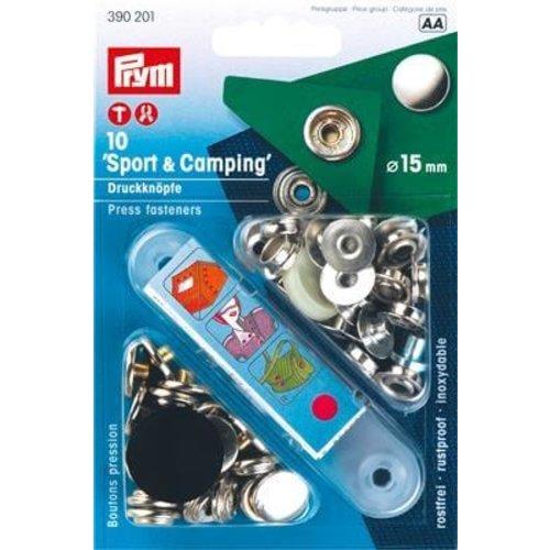Prym Vernietbare Drukknopen Sport 15 mm Zilver 10 stuks