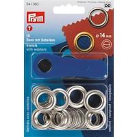 Prym Ringen met Schijven 14 mm Zilver 10 stuks