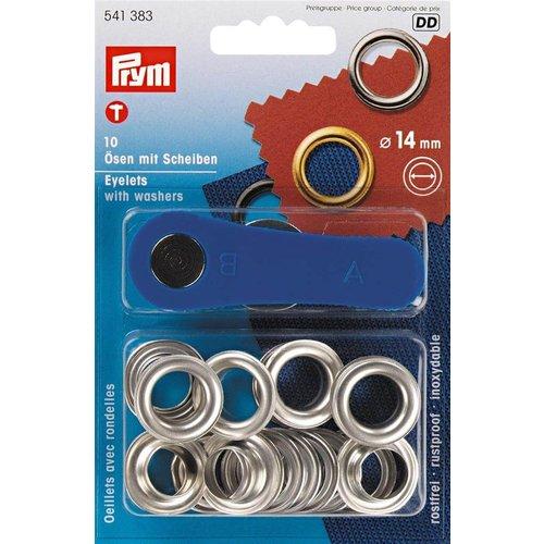 Prym Prym Ringen met Schijven 14 mm Zilver 10 stuks