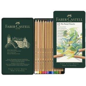 Faber Castell Pastelpotlood Faber-Castell Pitt metalen etui a 12 stuks