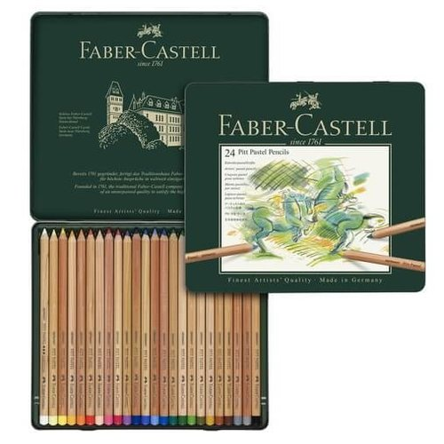 Faber Castell Pastelpotlood Faber-Castell Pitt metalen etui a 24 stuks
