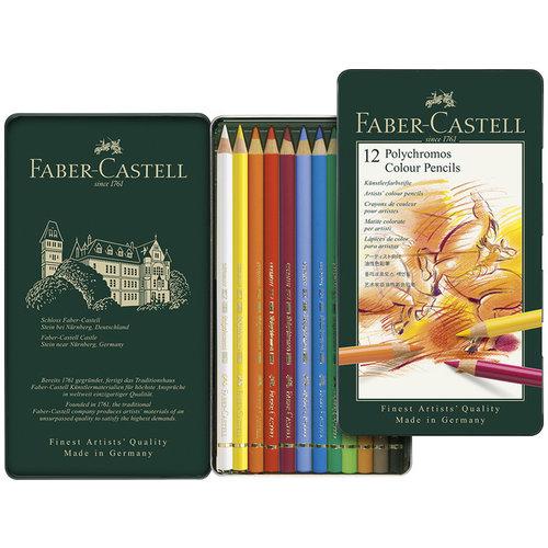 Faber Castell Kleurpotlood Polychromos 3,8 mm kerndikte etui à 12 stuks