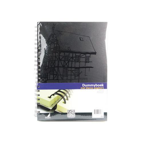 Kangaro Dummyboek  A4 Wire-o cream hard cover 80 blad 140grs zwart design