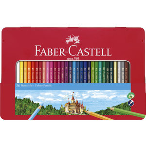 Faber Castell Kleurpotlood Faber-Castell Castle zeskantig metalen etui met 36 stuks