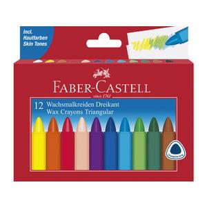 Faber Castell Waskrijt Faber Castell driehoek etui à 12 stuks.