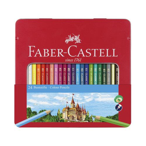 Faber Castell Kleurpotlood Faber-Castell Castle zeskantig metalen etui met 24 stuks