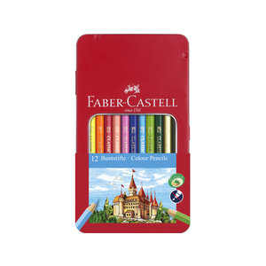 Faber Castell Kleurpotlood Faber-Castell Castle zeskantig metalen etui met 12 stuks