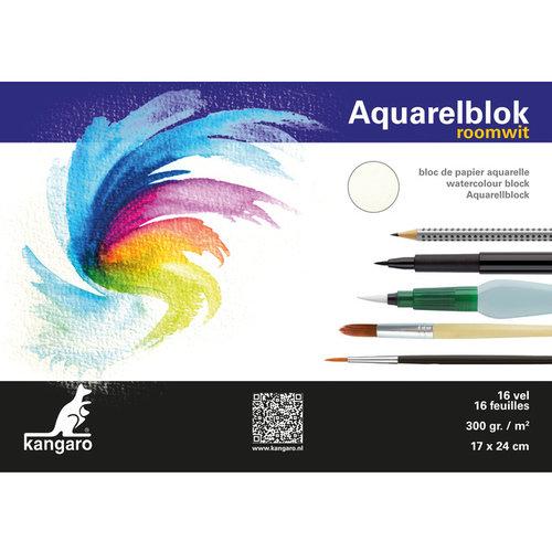 Blok aquarelpapier Kangaro 24x17cm 300 gram 16 vel roomwit