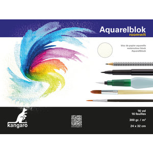 Kangaro Blok aquarelpapier Kangaro 32x24cm 300 gram 16 vel roomwit