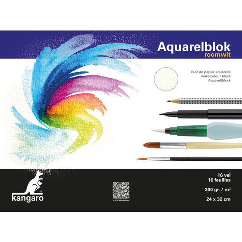 Blok aquarelpapier Kangaro 32x24cm 300 gram 16 vel roomwit