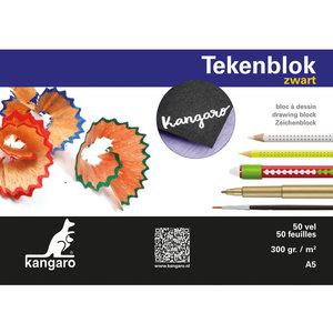Kangaro Tekenblok Kangaro A5 300 gram 50 vel zwart