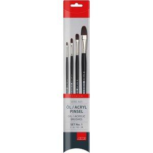 Olie en Acryl penselen set 4 stuks nr 2, 6, 10 en 18
