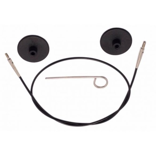 Knitpro KnitPro Kabel voor 120 cm zwart met zilverkleurige connector