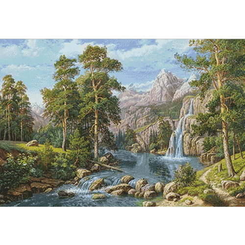 Wizardi Diamond Painting Scenery with Waterfall WD2459
