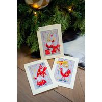 Borduurkaarten Kerstkabouters 3 stuks 0185078