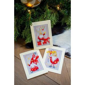 Vervaco Borduurkaarten Kerstkabouters 3 stuks 0185078
