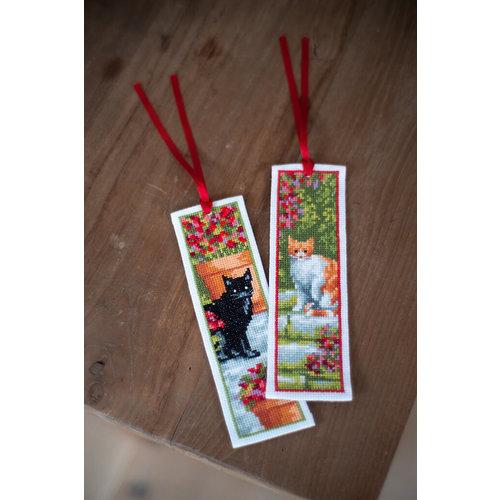 Vervaco Borduurpakket Bladwijzers Poezen tussen Bloemen 0183610