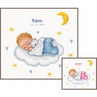 Vervaco Geboortetegel Slapende baby op wolk 0179219
