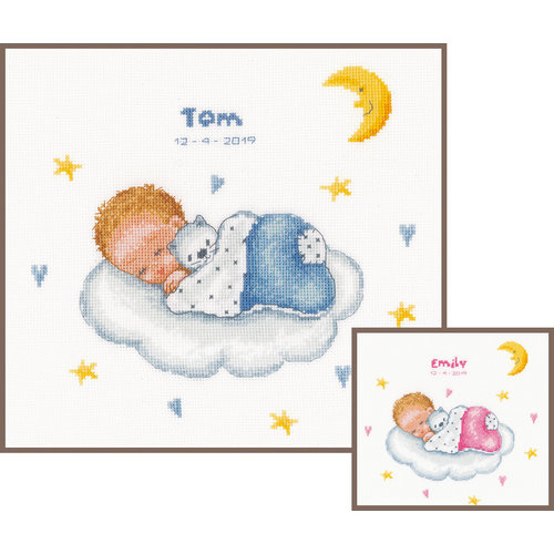 Vervaco Vervaco Geboortetegel Slapende baby op wolk 0179219