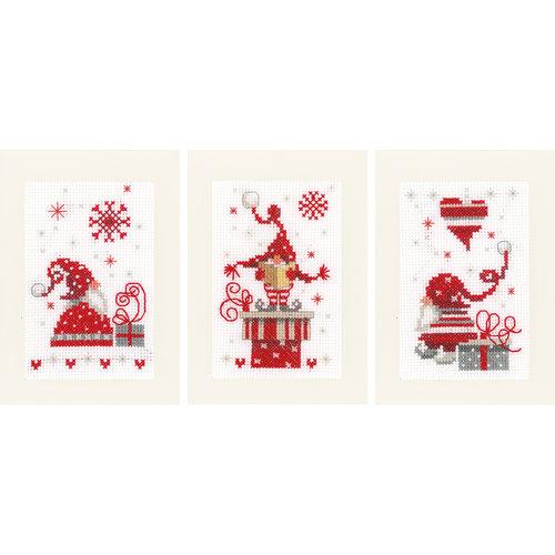Vervaco Borduurkaarten Kerstkabouters met Cadeau 3 stuks 0165989