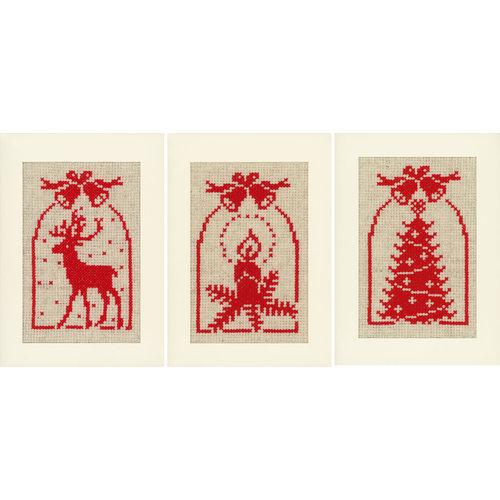 Vervaco Borduurkaarten Kerst Hert, Kaars en Kerstboom 3 stuks  0021444