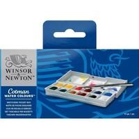Winsor & Newton Cotman Aquarelverf Pocket Box 12 halve napjes + 1 penseel