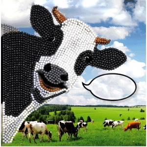 Crystal Art Diamond Painting Kaart Funny Cow IT1