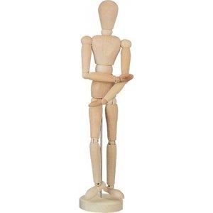 Houten Ledenpop Vrouw 30 cm Ongelakt