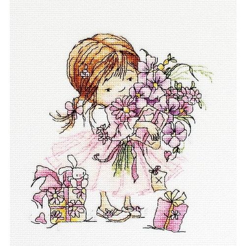 Luca S Luca S borduurpakket meisje met bloemen B1055