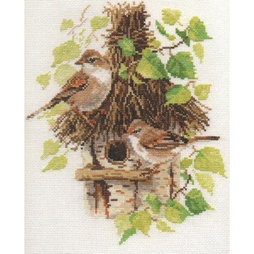 Alisa Alisa Borduurpakket Mussen met Vogelhuisje 1-23