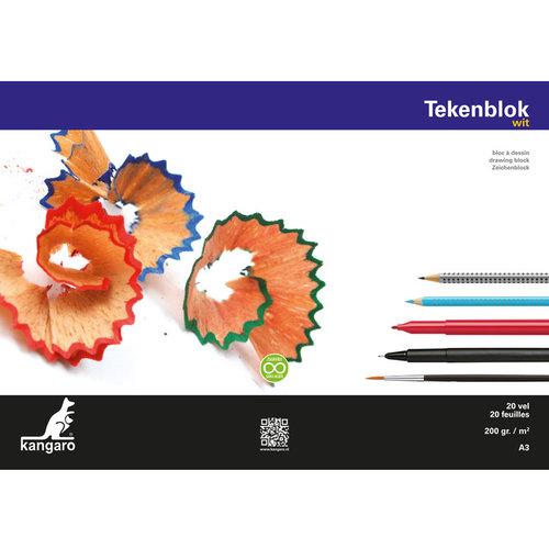 Kangaro Tekenblok Kangaro A3 200 gram 20 vel wit