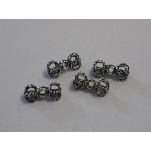 Filigrain metalen kralen platinum 15,6x5,2mm gat 1,5mm 4 stuks