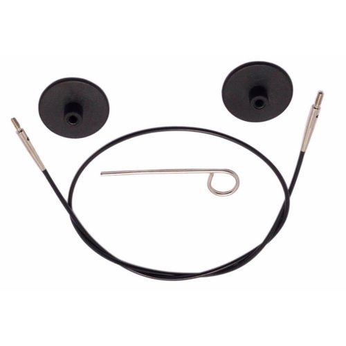 Knitpro KnitPro Kabel voor 60 cm zwart met zilverkleurige connectoren