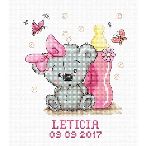 Luca S Luca S Geboortetegel Meisje Beertje met fles B1147