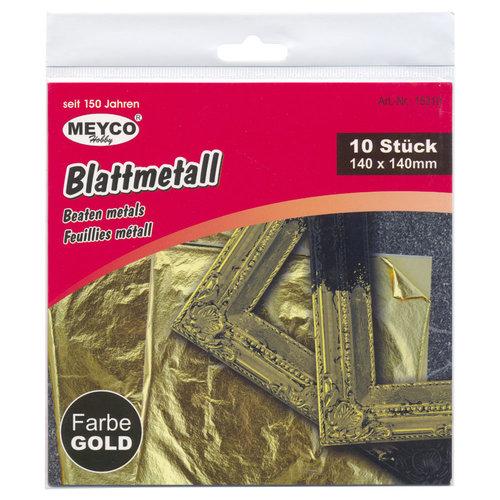 Bladmetaal Goud 14 x 14 cm bladgoud 10 vellen