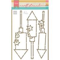 Marianne D Craft Stencil vuurwerk by Marleen PS8050 21x15 cm