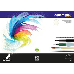 Kangaro Aquarelpapier Kangaro 300 gram 16 vellen A3