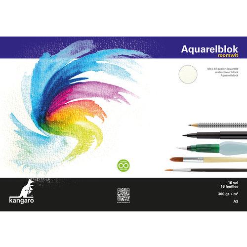 Aquarelpapier Kangaro 300 gram 16 vellen A3
