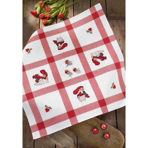 Permin Tafelkleed rood met aida 27-2023