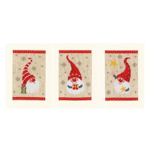 Vervaco Vervaco Borduurkaarten Kerstkabouters 3 stuks 1084428