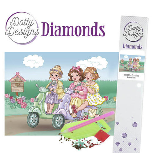 Dotty Designs   Dotty Designs Diamond Painting Dikke Dames op Scooter